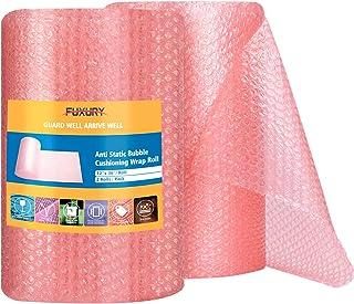 """Fuxury Pink Anti-Static Bubble Cushion Wrap Roll 12"""" Bubble Cushion Wrap Roll 2 Rolls 72 Feet Total,Perforated Every 12"""",I..."""