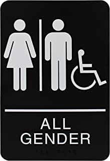 Headline Sign All Gender Restroom Sign with Wheelchair, 6 x 9 Inches, ADA, Black and White (9486)