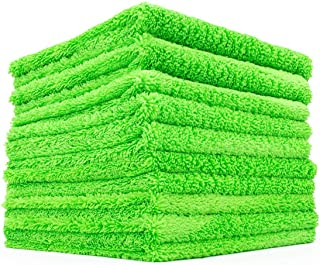 The Rag Company (10-Pack) 16 in. x 16 in. Professional Edgeless 70/30 Blend 420 GSM Dual-Pile Plush Microfiber Auto Detail...