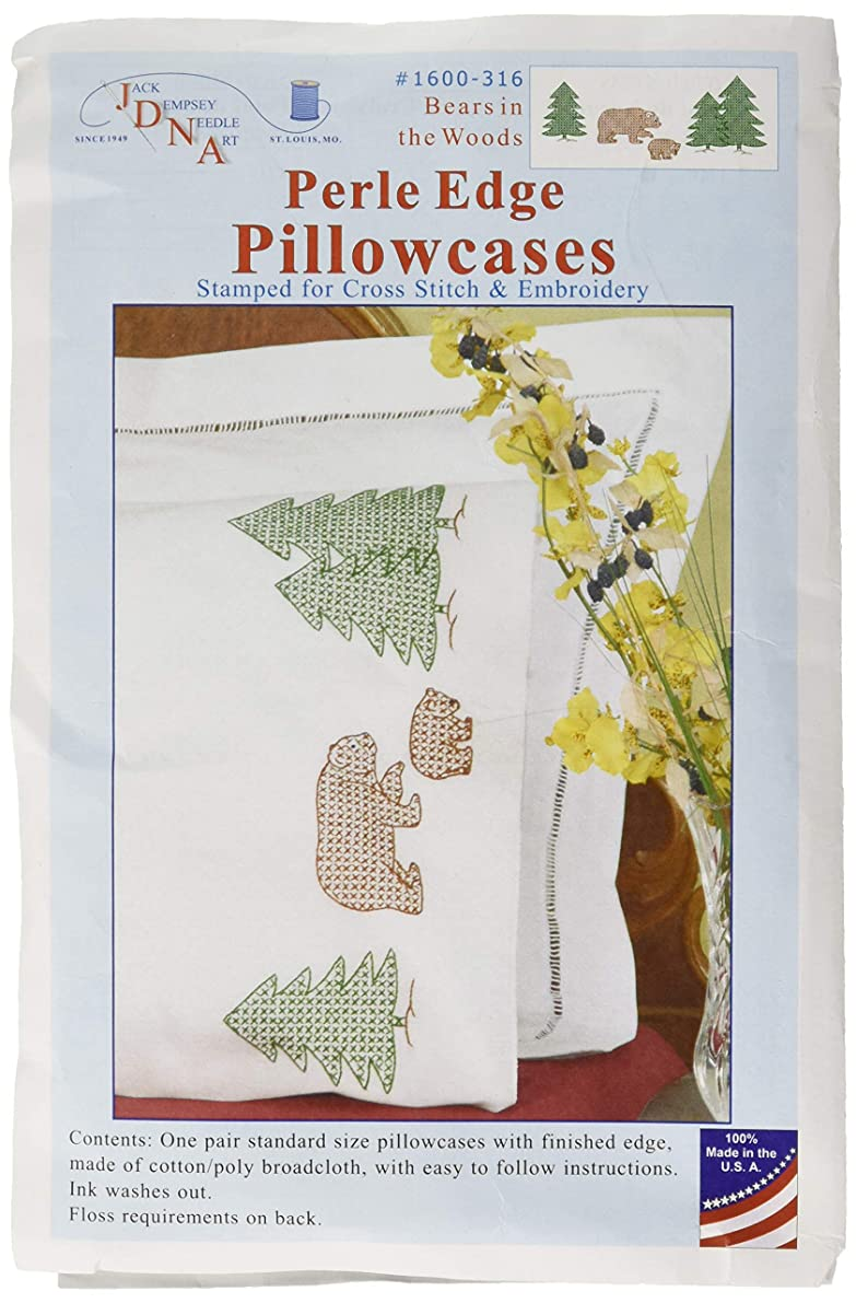Jack Dempsey Stamped Pillowcases with White Perle Edge, Bears, 2-Pack