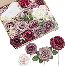 Ling's moment Artificial Flowers Dusty Rose Burgundy Roses Silk Flowers Combo for Wedding Bouquets Centerpieces Decorations (Mature Dusty Rose)