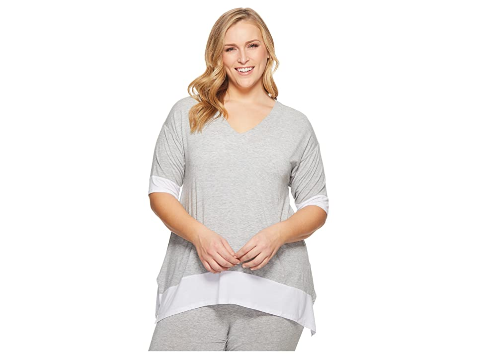 Donna Karan Plus Size Modal Spandex Jersey Lounge Top (Light Heather) Women