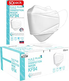 [50 Pack] KF94 Certified Face Mask for Adult, 4-layered, Protective Mask covering nose and mouth, H.A.C Plus [individually...