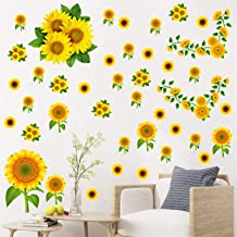 SHCHA 3D Window View Scenery Wall Sticker Mural Art Decal for Home Decor Sunflower 23.6 x 35.4 inches
