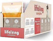 Marchio Amazon - Lifelong Alimento completo per gatti adulti- Selezione di carne in in gelatina 2,4 kg (24 sacchetti x 100g)