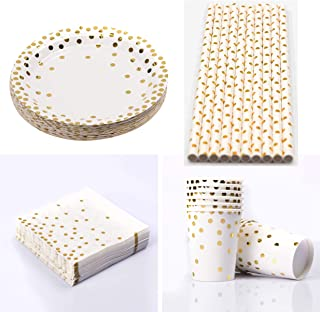 55 Pcs Disposable Tableware Set 10 Paper Cups 10 Napkins 10 9-Inch Dessert Paper Trays 25 straw for Birthday Party Wedding...