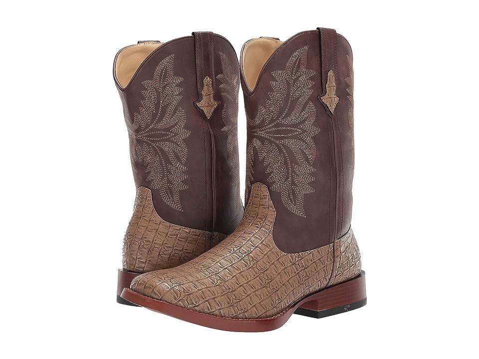 Roper Chomp (Tan Faux Caiman Vamp/Brown Shaft) Cowboy Boots