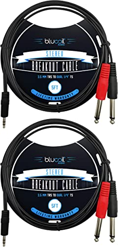 """high quality Blucoil online 5-FT 3.5mm TRS to Dual 1/4"""" TS Stereo Breakout Cable for Portable Music Players, Tablets, Computers, Sound online Consoles, Power Amplifiers, Speakers, and Studio Monitors (2-Pack) sale"""
