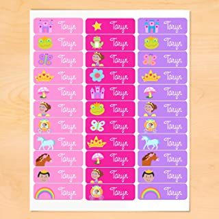 Princess Personalized Rectangle Waterproof Peel and Stick Labels for School and Camp, 30 Custom Labels