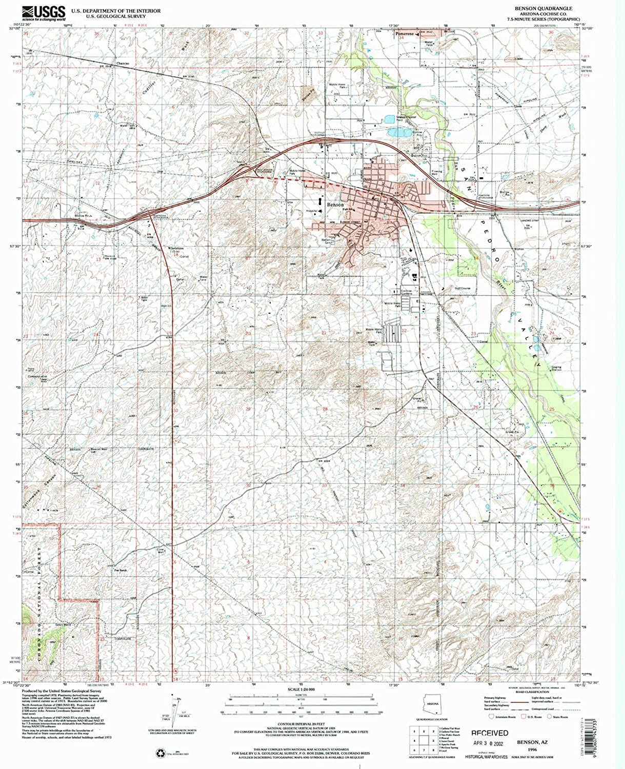 Benson AZ topo map, 1 24000 Scale, 7.5 X 7.5 Minute, Historical, 1996, Updated 2002, 26.7 x 22 in