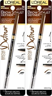 L'Oreal Paris Makeup Brow Stylist Definer Waterproof Eyebrow Pencil, Ultra-Fine Mechanical Pencil, Draws Tiny Brow Hairs & Fills in Sparse Areas & Gaps, Light Brunette, 0.003 Ounce (Pack of 2)
