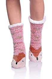 af71d8187dd NOVCO Womens fuzzy Cozy Cute Cartoon Animal Non-Slip Winter Thermal Slipper  Socks