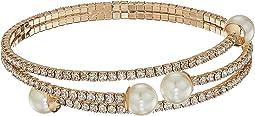 GUESS - Rhinestone Flex Pearl Bypass Bracelet