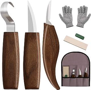 Wood Carving Tools,Wood Carving Kit Wood Carving Knife Set 7Pcs - Whittling Knife,Hook Carving Knife,Detail Carving Knife,...