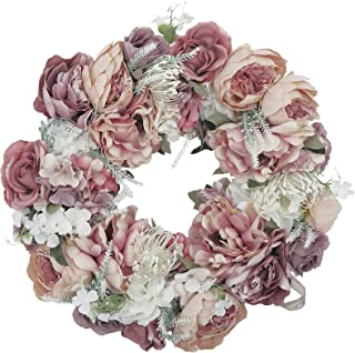 """HEBE 18"""" Artificial Peony Wreaths Large Floral Door Wreath Spring Summer Wreath Silk Flower Wreath for Outdoor Front Door ..."""
