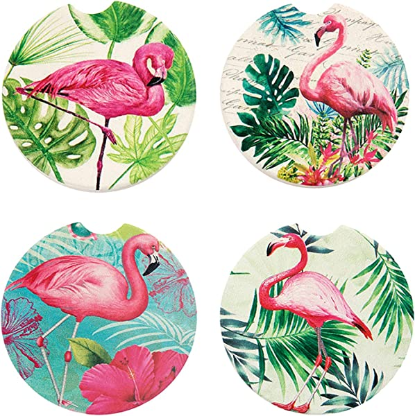 Humphrey Amelia Pack Of 4 Car Absorbent Coasters Ceramic Auto Cup Holder Coaster 2 56 Inches Flamingos
