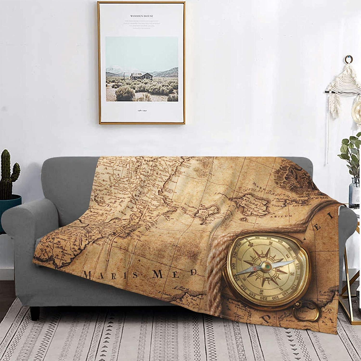 Vintage Map Compass Ultra-Soft Micro Ranking TOP13 Blanket Be super welcome Fleece Flannel Lig