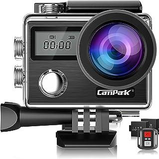 【新型】Campark X20 アクションカメラ 4K高画質 2000万画素 2インチタッチスクリーン HDMI出力 スポーツカメラ 30M防水 EIS手ブレ補正 WiFi搭載 170度広角 魚眼レンズ ウェアラブルカメラ 1150mAhバッテリー2個バイク/自転車/車/ヘルメットに取り付け可能 スポツカメラアクションカム  [メーカー1年保証]