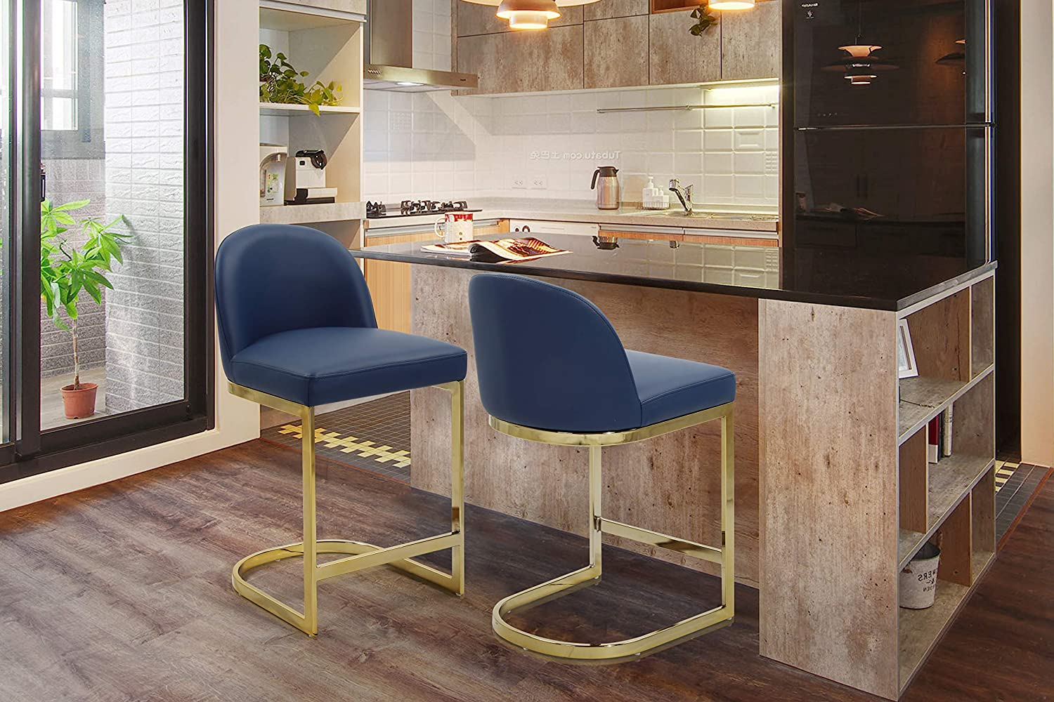 Inventory cleanup selling sale Iconic Home Xander Counter Stool Upholstered Chair Ar Spring new work Leather PU