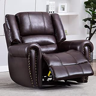 Manual Leather Recliner Chair, BONZY HOME Overstuffed Recline Chair for Living Room, Dark Brown