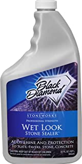 Best Black Diamond Stoneworks Wet Look Natural Stone Sealer Provides Durable Gloss and Protection to: Slate, Concrete, Brick, Pavers, Sandstone, Driveways, Garage Floors. Interior or Exterior. 1-Quart Review