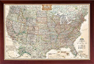 Poster Art House Framed Vintage Map United States (Map of The United States) (USA Map) Mounted in Walnut Brown Frame