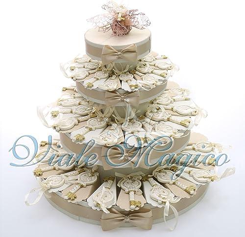 Bonboniere, Gastgeschenk für die heilige Firmung, Schlüssel-Design, Konfekt angeordnet in Tortenform 60 Pezzi