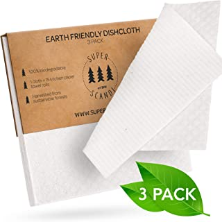 SUPERSCANDI Swedish Dishcloths 3 Pack White Reusable Biodegradable Cellulose Sponge Cleaning Cloths for Kitchen Dish Rags Washing Wipes Paper Towel Replacement Washcloths