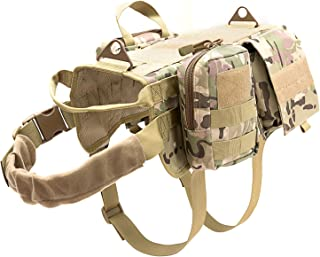 Vevins Dog Tactical Harness Molle Vest Adjustable Service Camouflage Outdoor Training Harness with 3 Detachable Pouches