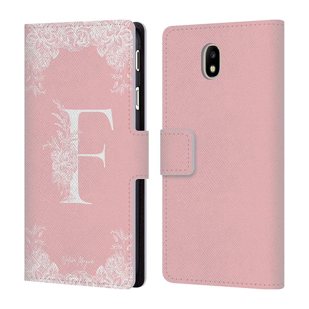Official Nature Magick Letter F Rose Gold Monogram 1 Leather Book Wallet Case Cover for Samsung Galaxy J7 2017 / Pro