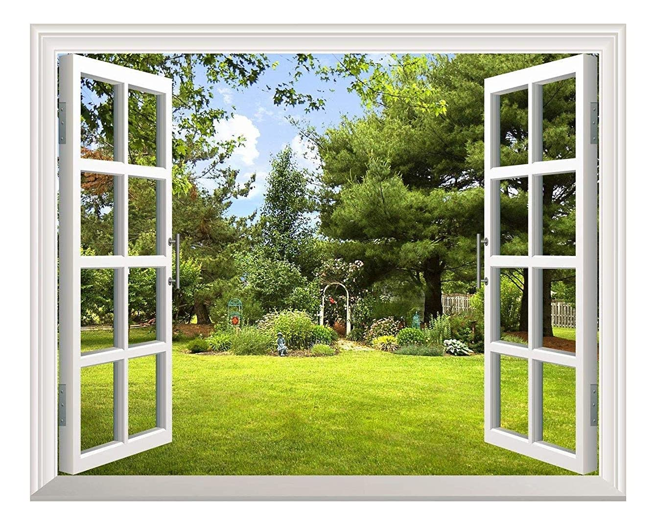 wall26 Removable Wall Sticker/Wall Mural -Beautiful Garden View Out of The Open Window Creative Wall Decor - 24