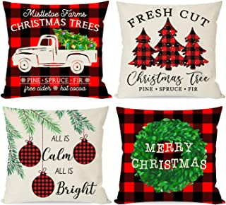 PANDICORN Farmhouse Christmas Pillows Covers 18x18 Set of 4 for Christmas Decorations, Black and Red Buffalo Check Plaid Christmas Trees Truck Wreath, Throw Pillow Cases for Christmas Décor Couch