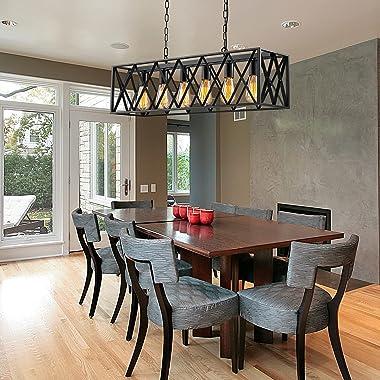 Industrial Kitchen Island Pendant Lighting, Pynsseu Rectangular Vintage Rustic 6-Light Hanging Pendant Light Fixtures for Kit