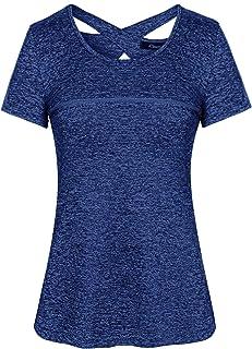 comprar comparacion iClosam Camiseta para Mujer Yoga Deportiva Colores Lisos Fitness Transpirable Sueltos Gimnasio Ropa Algodon De Mujers