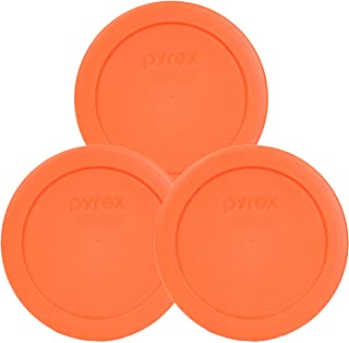 """Pyrex Orange 2 Cup 4.5"""" Round Storage Cover #7200-PC for Glass Bowls - 3 Pack"""