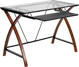 Flash Furniture Glass Computer Desk with Pull-Out Keyboard Tray and Crisscross Frame , Clear/Cherry -