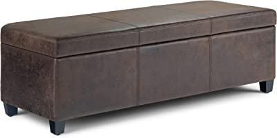Simpli Home Avalon 48 inch Wide Rectangle Lift Top Storage Ottoman Bench in Upholstered Distressed Brown Faux Air Leather with Large Storage Space for the Living Room, Entryway, Bedroom, Contemporary