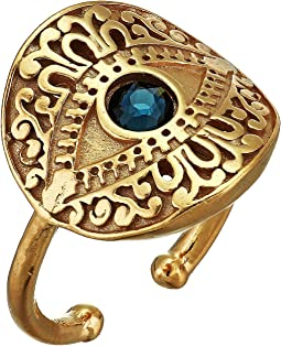 Evil Eye Statement Adjustable Ring - Precious Metal