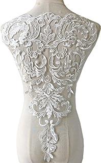 Bridal Veil Lace Applique Embroidered Long Lace Applique for Wedding Dress Lace for Belt A104 18.5X2.5 Wave Costume Lace Applique