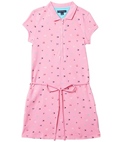 Tommy Hilfiger Adaptive Victoria Polo Dress with Zipper Closure at Front (Toddler/Little Kids/Big Kids) (Sachet Pink/Multi) Women