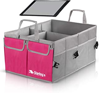 Starling's Car Trunk Organizer - Super Strong, Foldable Storage Cargo Box for SUV, Auto, Truck - Nonslip Waterproof Bottom, Fits Any Vehicle, Pink
