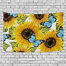 Blue Viper Beautiful Sunflowers Blue Butterflies Tapestry Wall Hanging Artistic Home Wall Décor for Living Room Bedroom Dorm Wall Décor 90 x 60 Inches