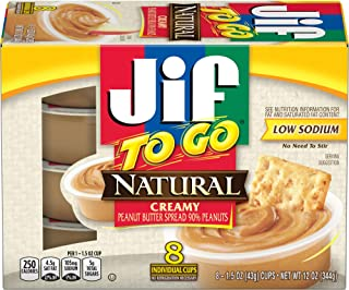Jif To Go Natural Creamy Peanut Butter Spread, 8 Count