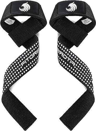 Fitgriff® Sangles de Levage de Musculation (Rembourré), Sangle Poignet, Sangle de Tirage Musculation - pour Femmes et...