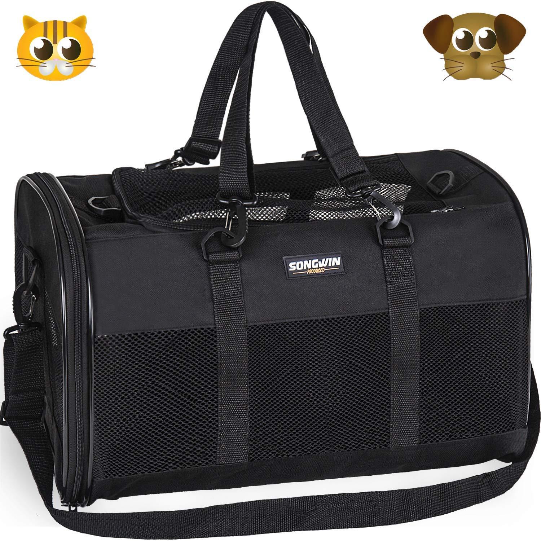 Songwin Trasportin Gato Grande Trasportines Perro Bolsa de Tela Transporte para Gato y Animales Viaje Bolso para Coche (negro,L): Amazon.es: Productos para mascotas