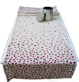 Camino de mesa con puntos, tejido natural, yute cáñamo,manteles de diseño de BeccaTextile.