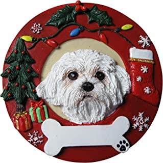 Maltese Puppycut Christmas Ornament Wreath Shaped Easily Personalized Holiday Decoration Unique Maltese Lover Gifts