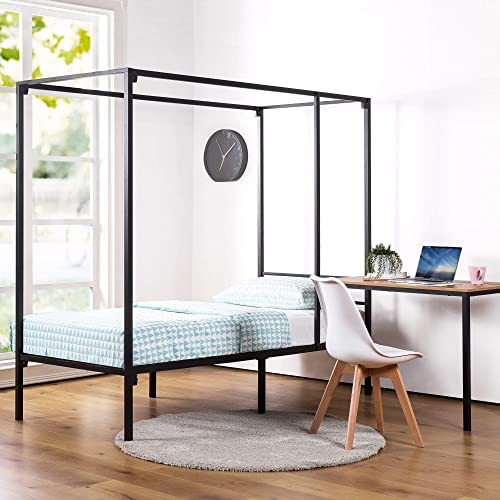 Zinus Kenn Single Bed Frame with Desk - Black Canopy Four Poster Bed with Metal Slats for Kids Teenagers