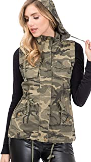 Womens Cotton Utility Safari Vest with Removable Hood Olive