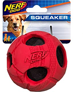 Nerf Dog Rubber Wrapped Bash Tennis Ball Dog Toy, Large, Red